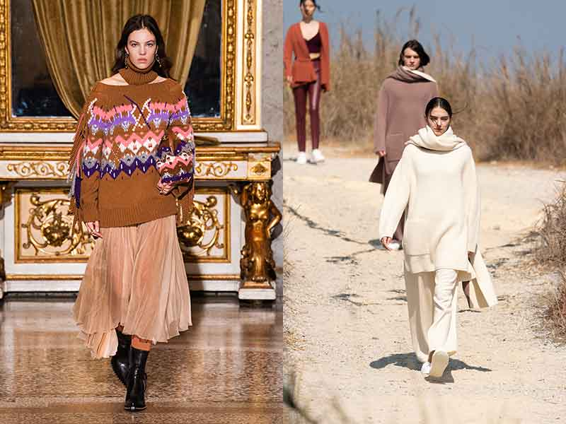 Modetrends herfst winter 2021 2022. Knitwear. Photo left: courtesy of Ermanno Scervino; photo right: courtesy of Anteprima