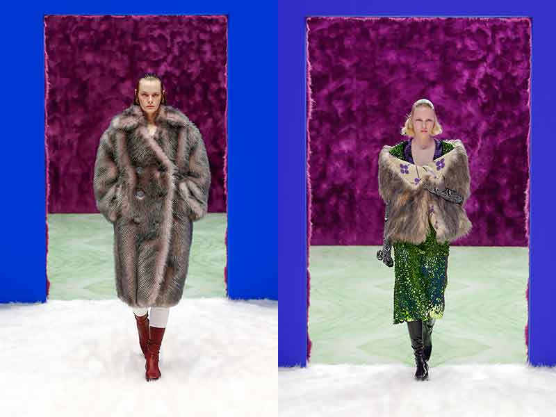 Modetrends herfst winter 2021 2022. Faux fur. Photo: courtesy of Prada