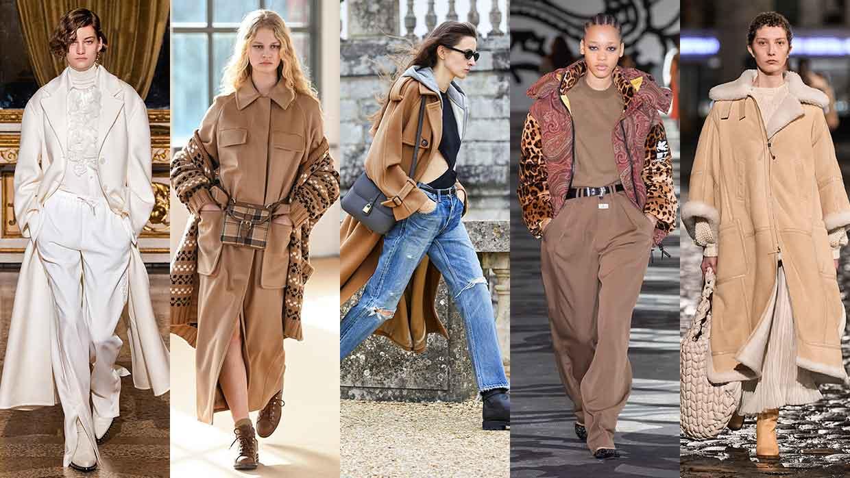 Dit zijn de nieuwste modetrends voor herfst winter 2021 2022. Van links naar rechts: Ermanno Scervino, Max Mara, Celine, Etro, Chloe