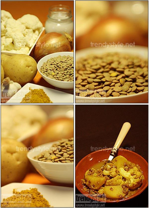 Aardappelen, bloemkool en linzen met curry