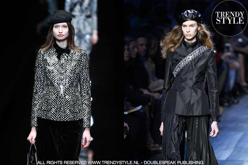 Links: Emporio Armani herfst winter 2017 2018, rechts, Christian Dior winter 2017 2018
