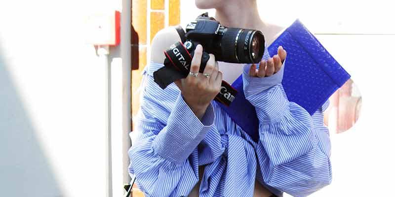 Blauw-witte blouse