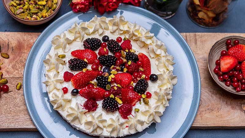 Kookrecept. Volkoren cheesecake met bosvruchten