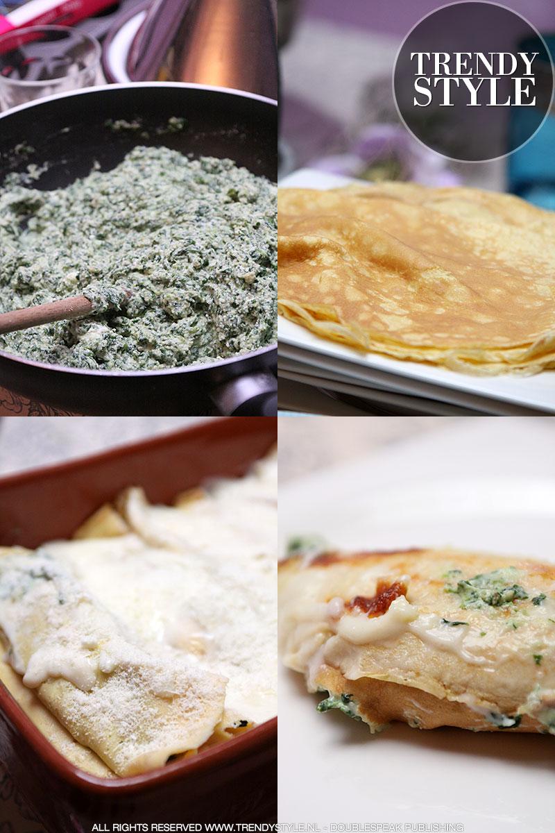 Flensjes met spinazie en ricotta in de oven