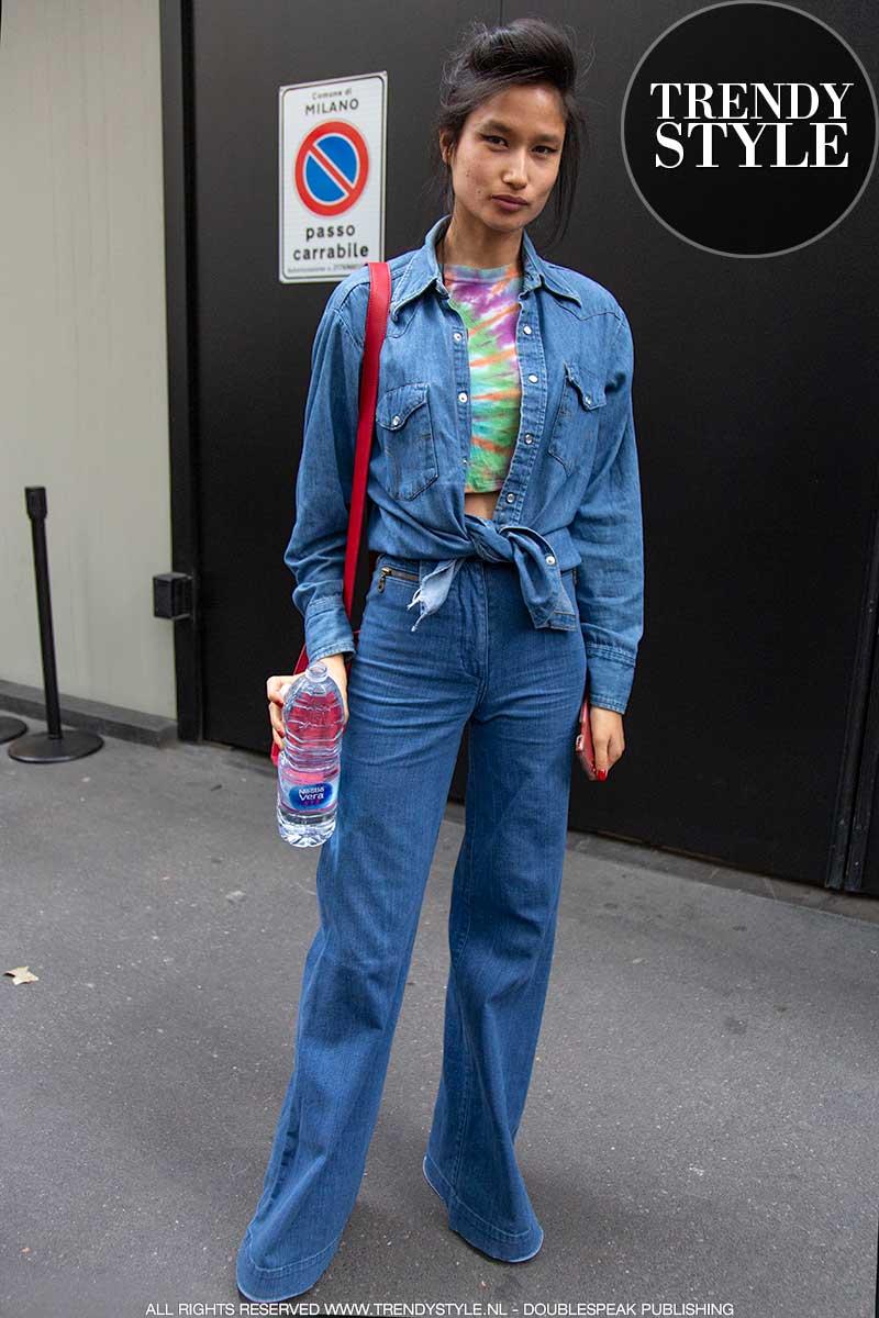 Streetstyle mode 2020. Drie jeans look. Zo dragen de modellen denim