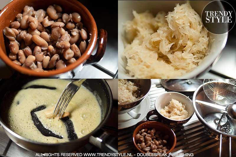 Warme maaltijdsoep uit Italië. Bonensoep met zuurkool