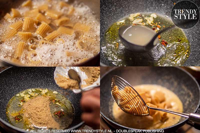 Koken in de herfst. Volkoren pasta met walnotensaus