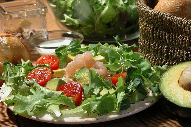Zonnige maaltijdsalade met avocado en garnalen