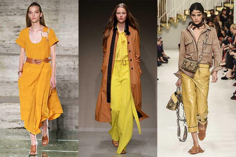 Modekleur geel. Van links naar rechts: Ferragamo, Trussardi, Tod's