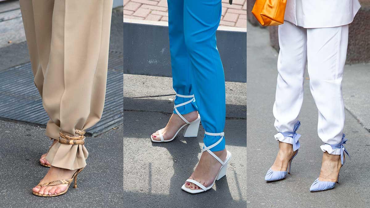 Modetrends lente zomer 2020. Schoenen met enkelbandjes