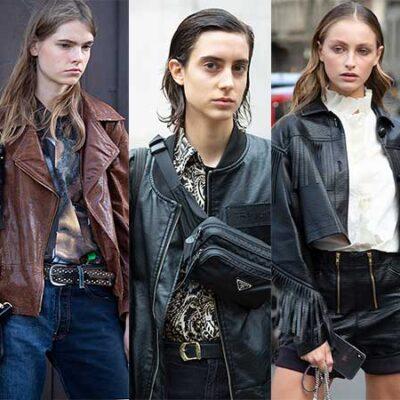 Streetstyle mode 2021. Het leren jack. Must-have voor de lente!