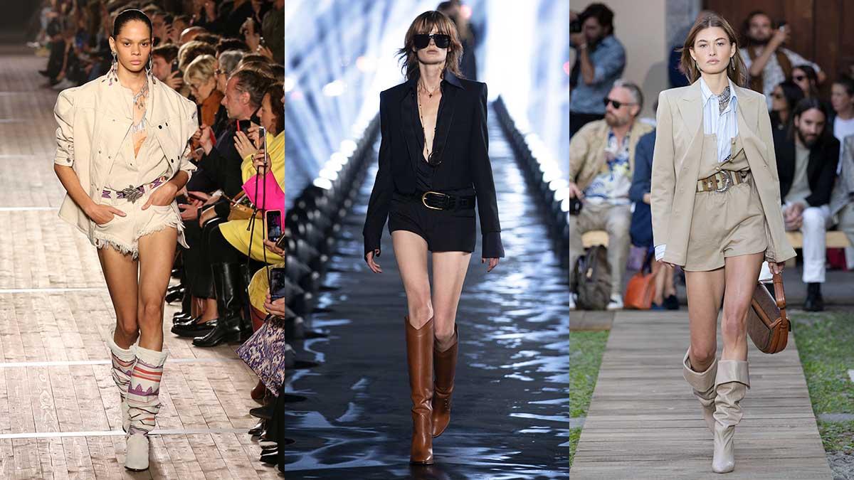 Modetrends zomer 2020. Laarzen onder korte broek