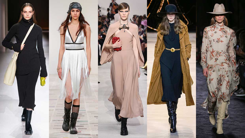Modetrends winter 2020. Dit is pas hot: stoere boots onder je jurk!