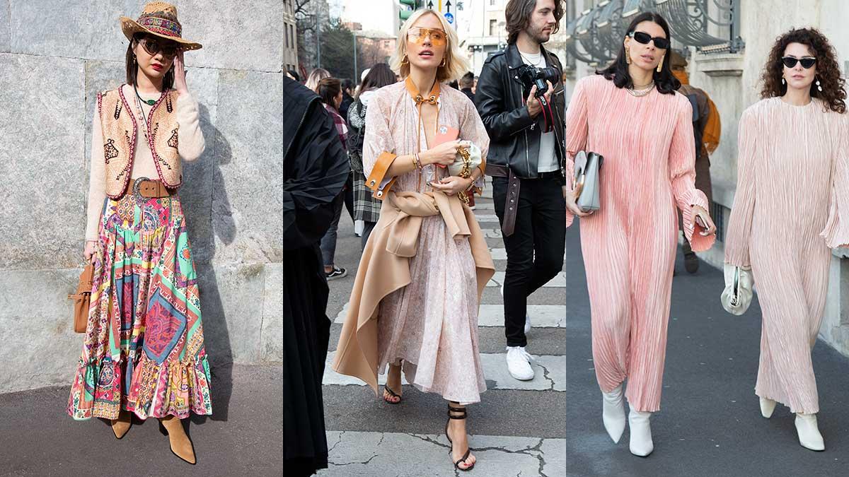 Modetrends lente zomer 2020. Lange rokken en jurken. Streetstyle