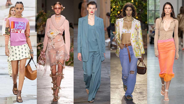 Modetrends lente zomer 2021. 10x Modetrends die je vast interesseren! Foto's van links naar rechts: Chloé, Blumarine, Max Mara, Etro, Sportmax