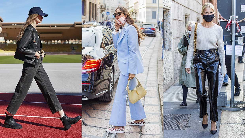 Streetstyle mode voorjaar 2021. Broeken die de enkel vrijlaten