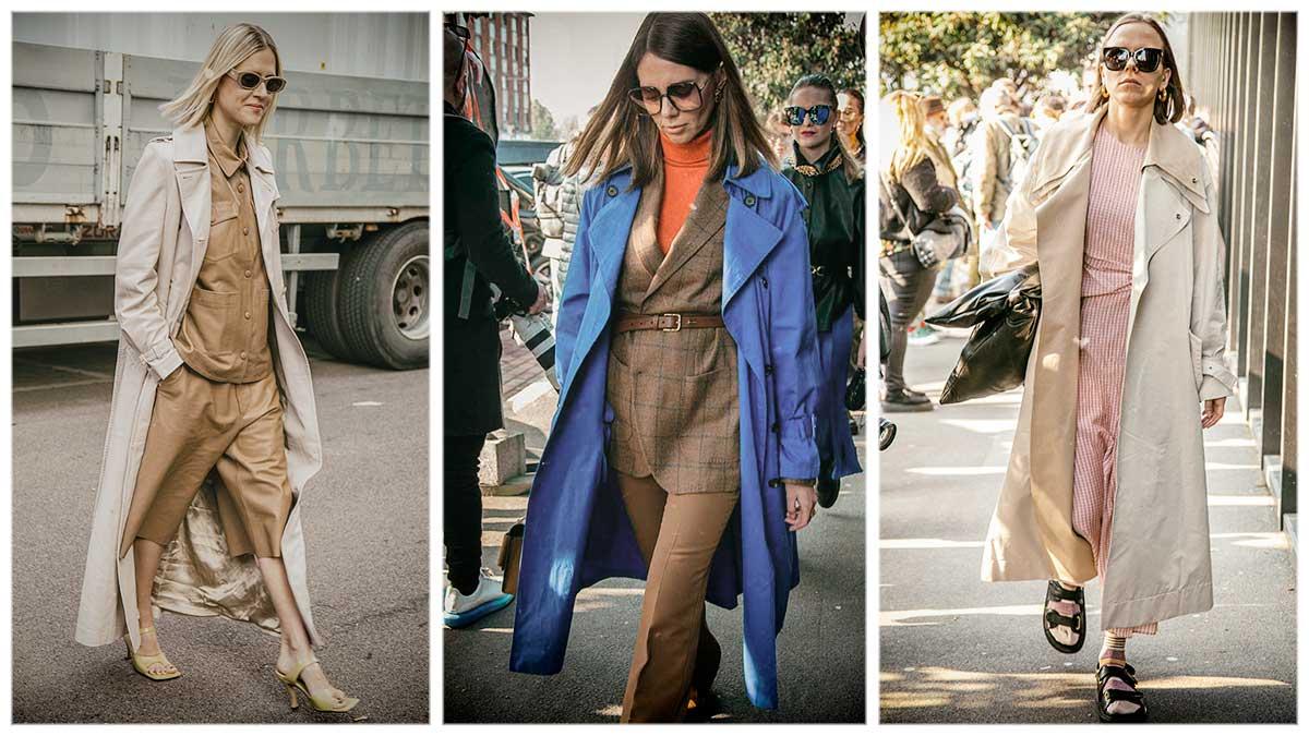 Streetstyle mode herfst 2020. Trench coats