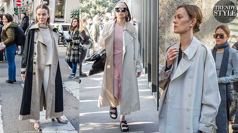 Streetstyle mode zomer 2020. Modetrend: lange trench coats
