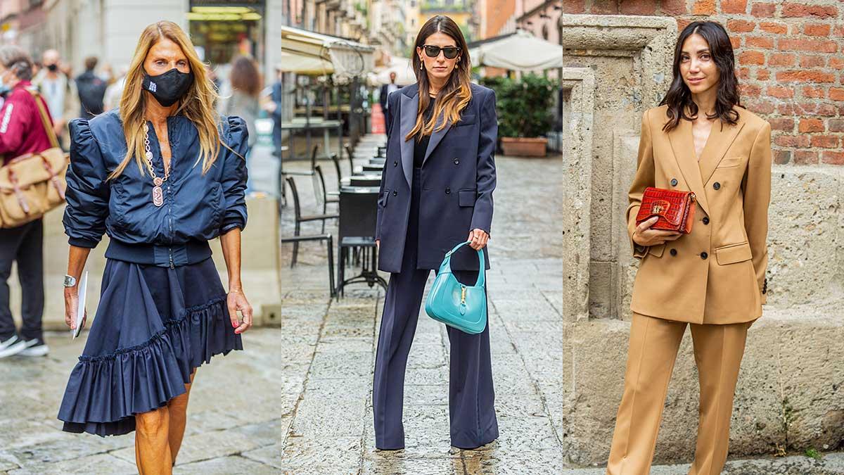 Streetstyle mode herfst winter 2020 2021. Broekpakken, lange blazers en roesjes. Streetstyle bij Max Mara