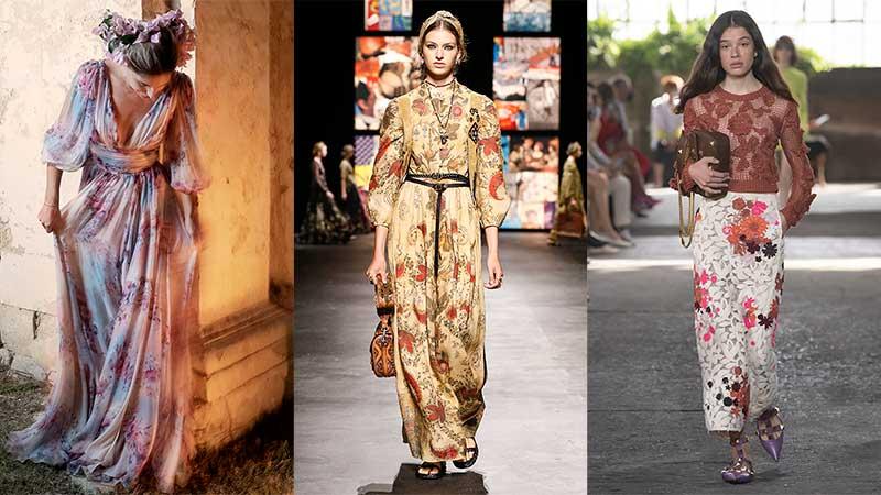 Modetrends lente zomer 2021. Bloemenjurken en bloemenfantasieën