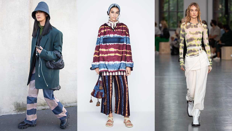 Modetrends zomer 2021. Wéér tie dye (cool!). Foto's van links naar rechts: streetstyle, Dior, Sportmax