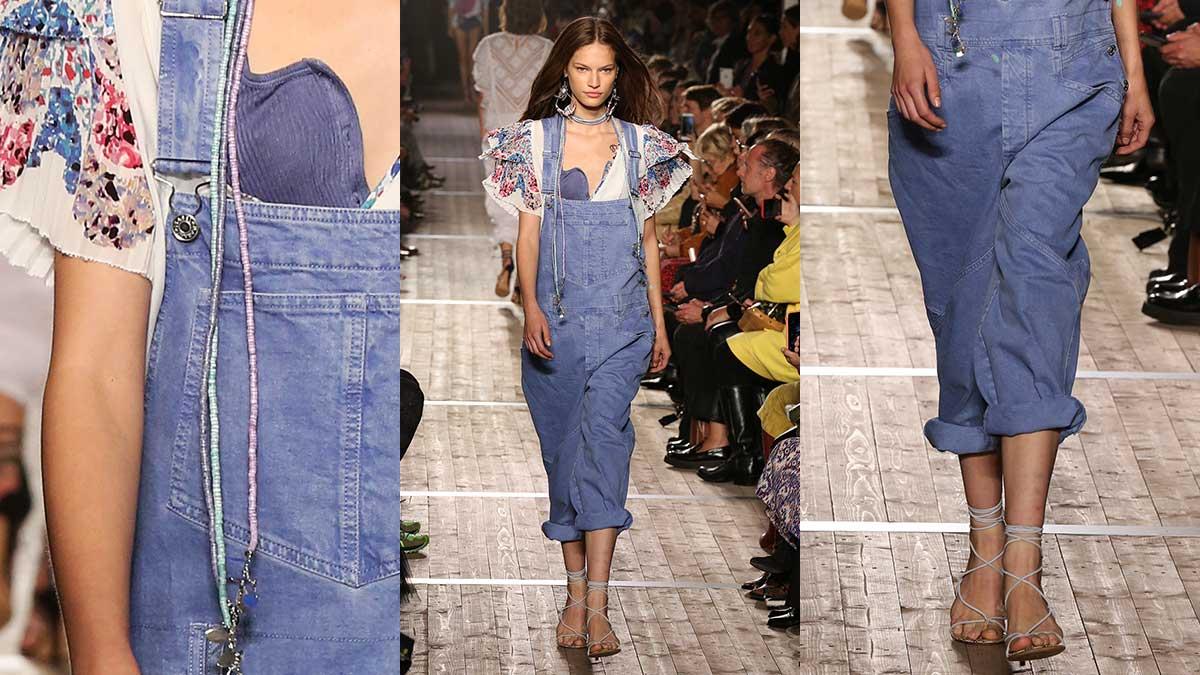 Modetrends lente zomer 2020. Tuinbroeken en overalls in denim.