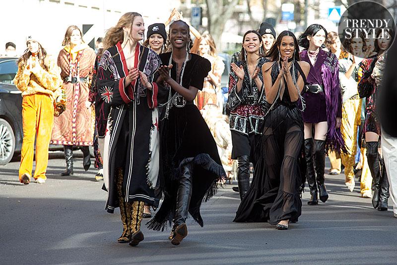 Milan Fashion Week winter 2021 2022. Modellen off-duty