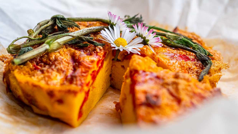 Lente recept. Omelet met paprika in de oven