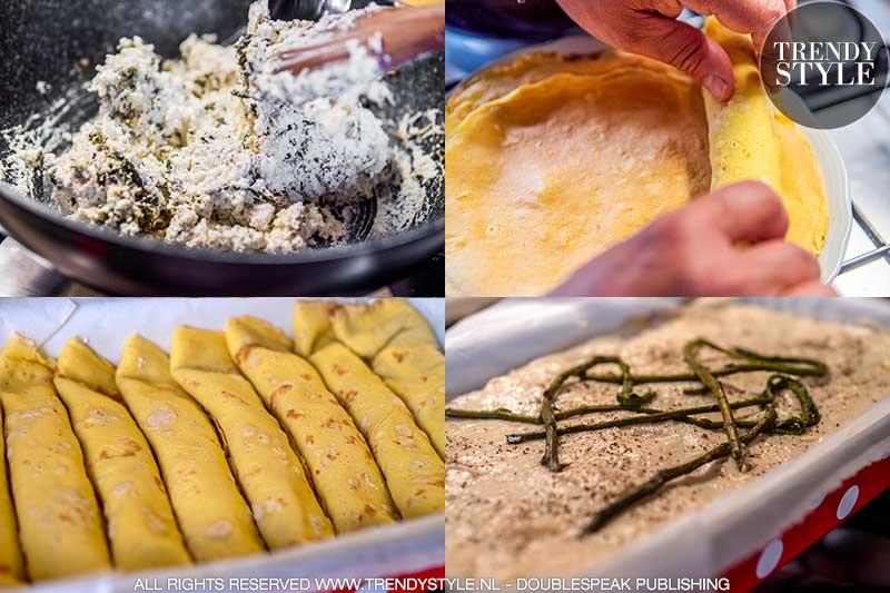 Crespelle met (wilde) asperges en ricotta in de oven