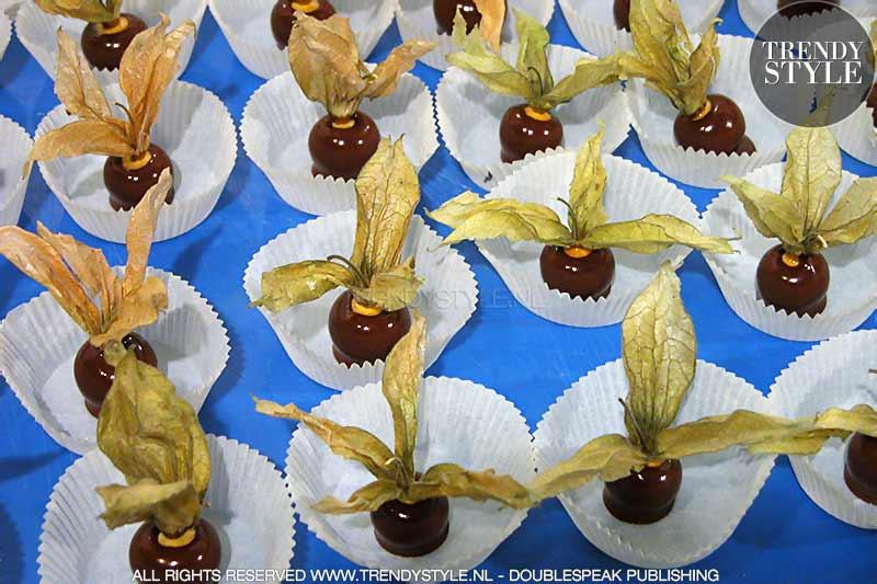 Vruchtenchocolaatjes. Physalis vruchten in een chocoladejasje
