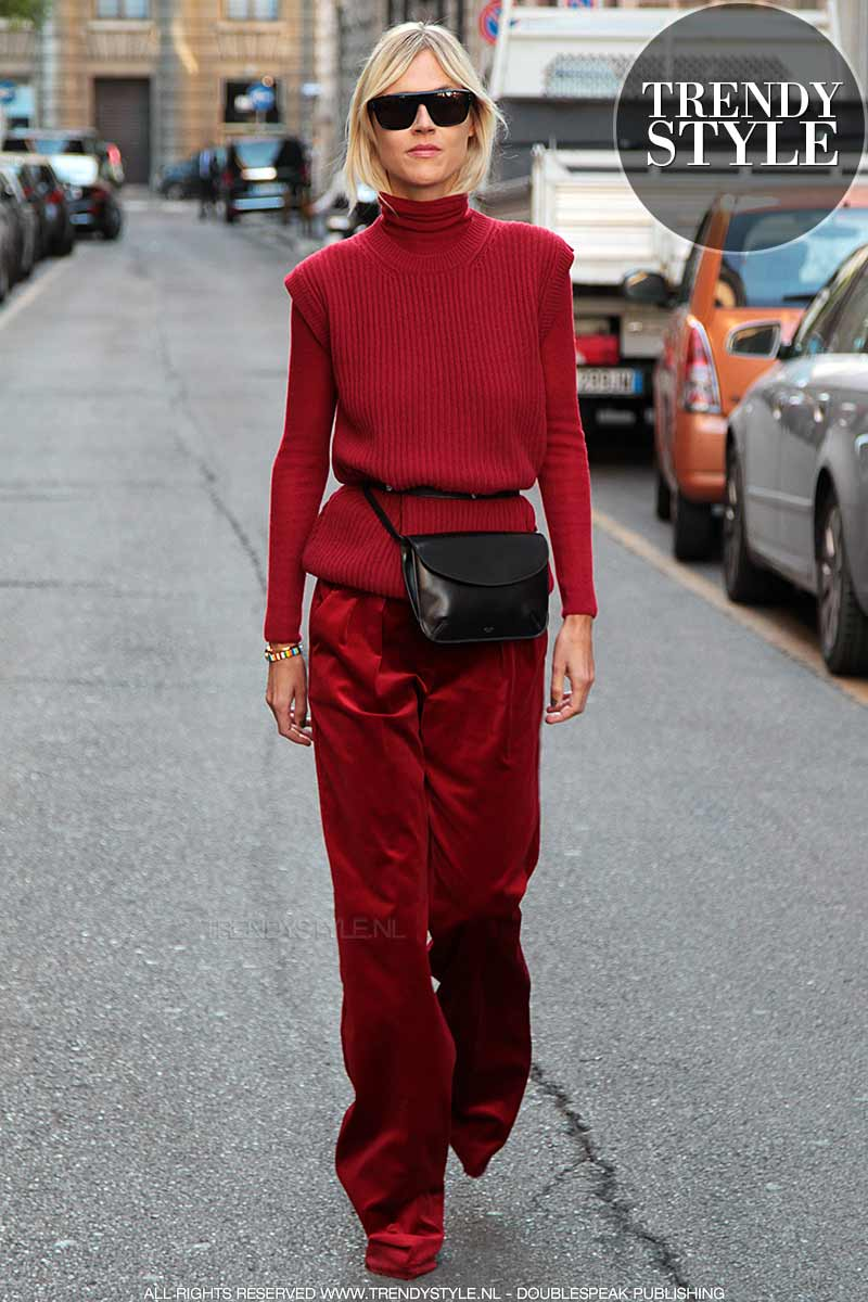 Streetstyle. Rood modekleur