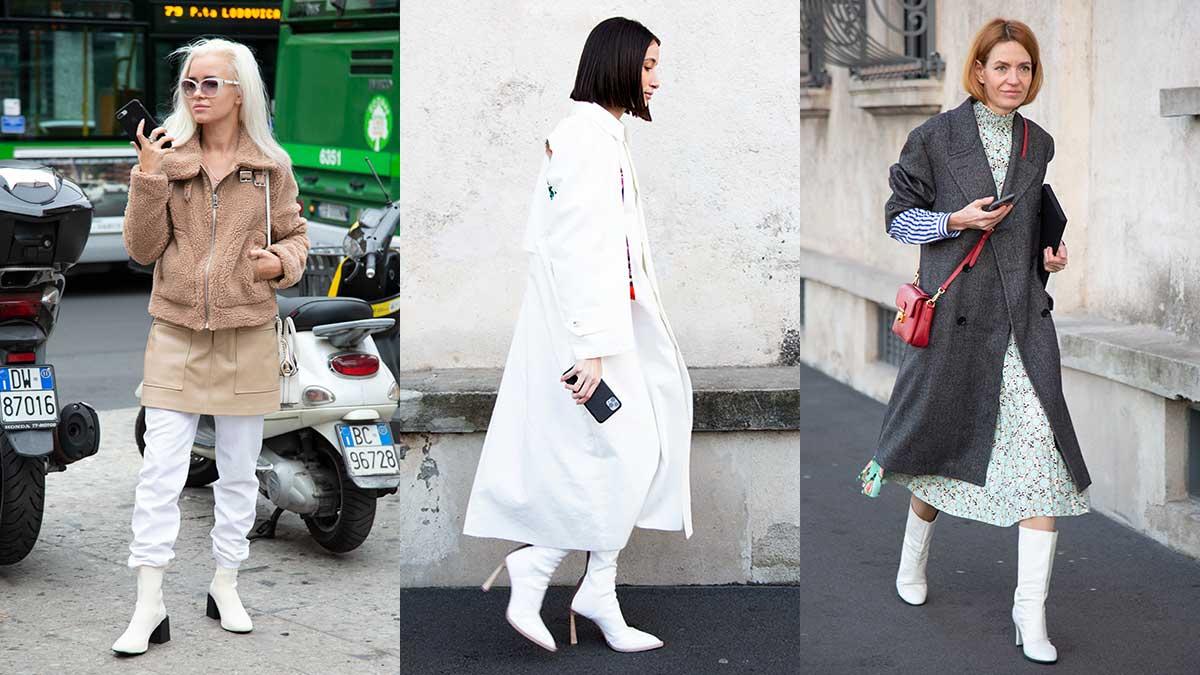 Schoenentrends lente zomer 2020. Witte laarzen en schoenen