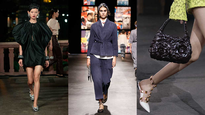 Schoenentrends 2021. Heb jij al (nog) een paar ballerina's? Van links naar rechts: Lanvin, Dior, Valentino