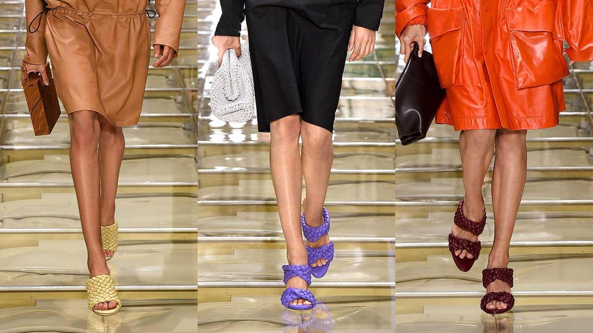 Schoenentrends lente zomer 2020. Gevlochten sandaaltjes. Bottega Veneta