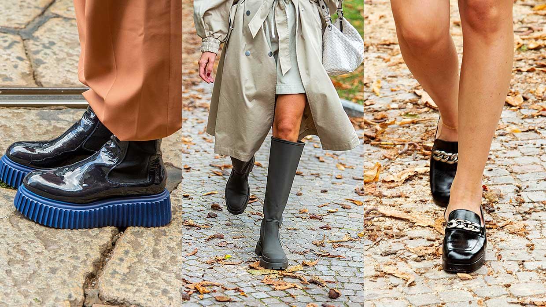 3x Schoenen trends winter 2020 2021. Deze schoenen zijn trendy. Moccasins, kaplaarzen en enkellaarsjes met trackzolen