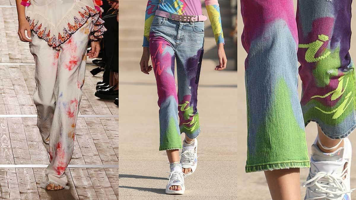 Spijkerbroeken trends lente zomer 2020. Jeans met fantasieën
