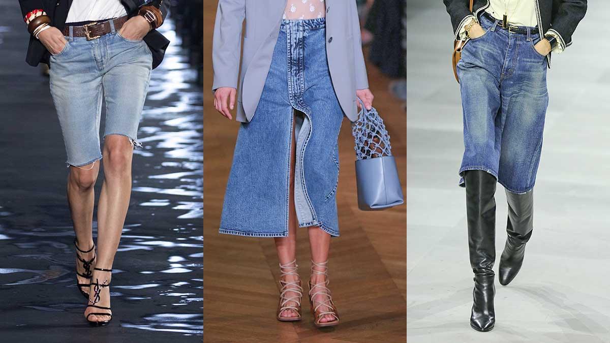 Modetrends zomer 2020. Spijkergoed. Spijkerrokken en spijkerbermuda's