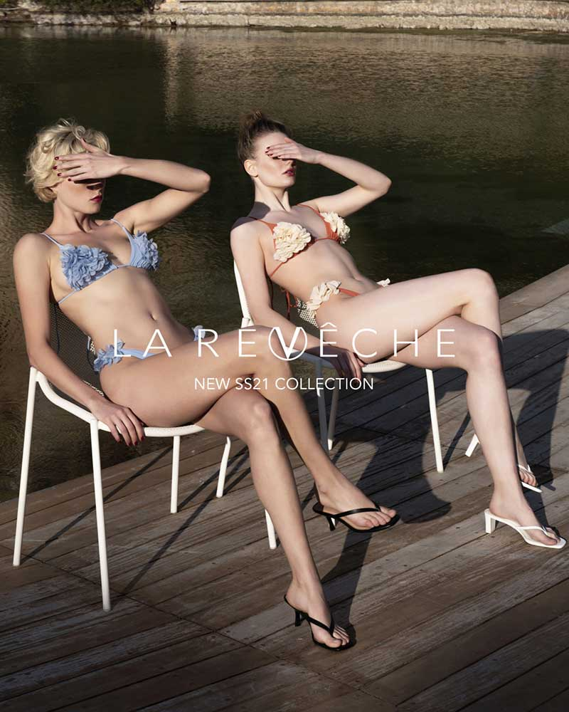 Strandmode trends 2021. Het wordt de zomer van de gekleurde (en kleine!) bikini's. Swimwear: La Reveche