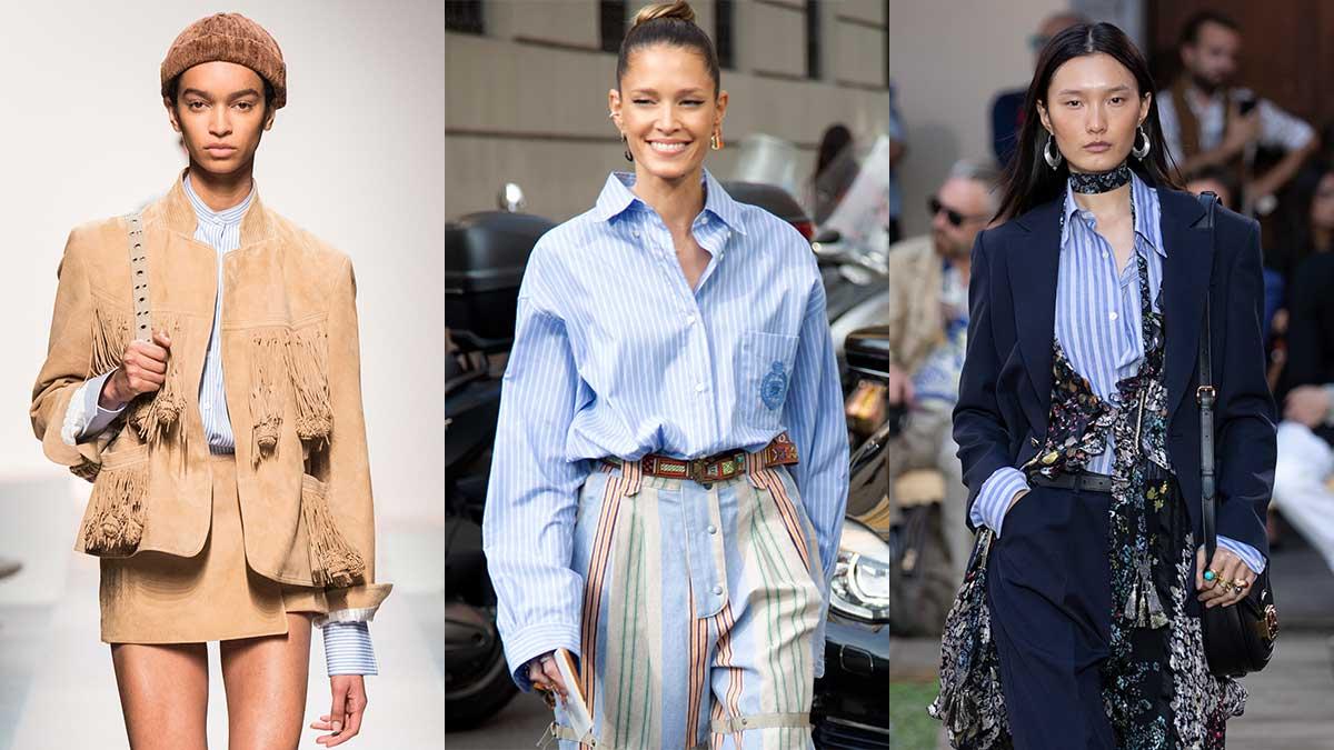 Modetrends lente zomer 2020. Blauwwit gestreepte blouses