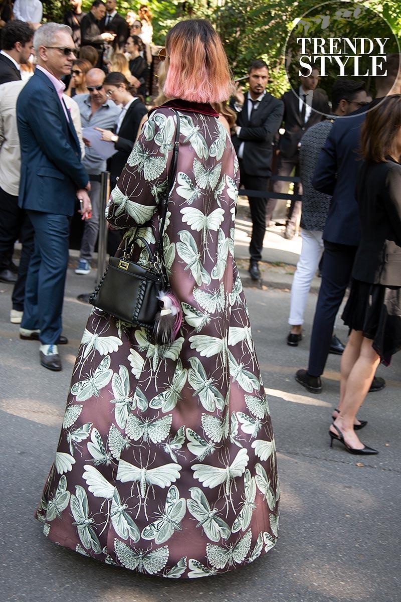 Streetstyle mode 2019 bij de show van Fendi