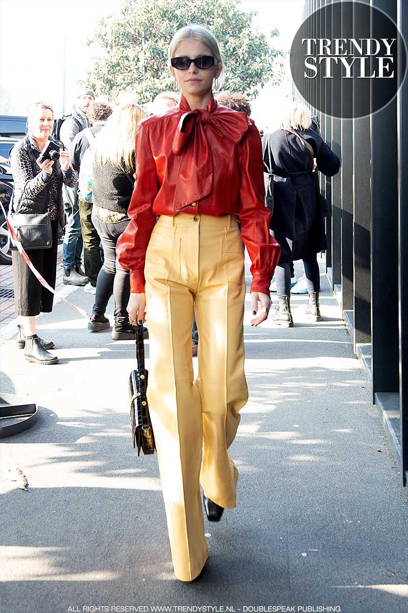 Streetstyle mode Milan Fashion Week. Modetrends voorjaar 2020