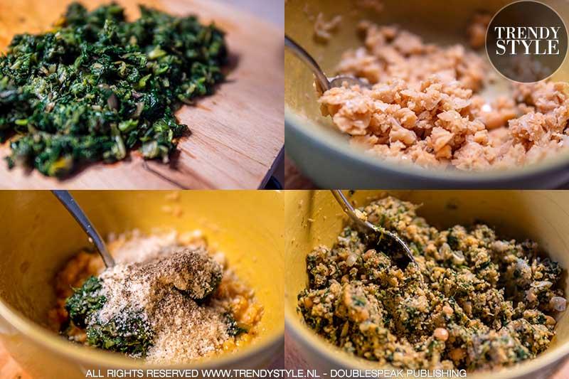 Koken. Vegetarische balletjes van paardenbloemblad en kikkererwten