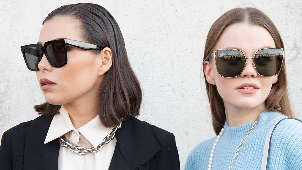 Zonnebrillentrends 2020. Zwarte, hoekige monturen